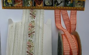 EMBROIDERED-Ribbon-Autumn-Colours-22-amp-80mm-Mixed-Length-2-Colour-Choice-LR3