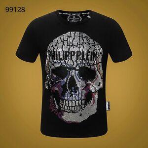 PHILIPP-PLEIN-Black-Skull-Beading-Men-Casual-T-shirt-P99128-Size-M-3XL