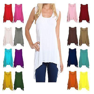 Women Ladies Asymmetric Gathered Hanky Hem Flared Printed Long Tunic Vest Top
