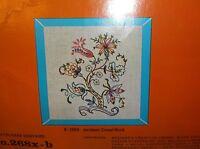 Vintage Belgian Linen Crewel Jacobean Flower Tree Kit Creative Crewelwork