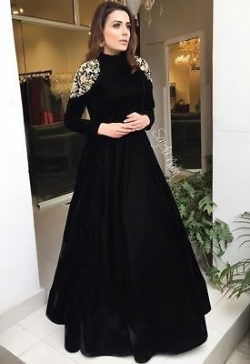 Indian Pakistani Velvet Embroidery Designer Long Wedding Gown Anarkali Dresses Ebay