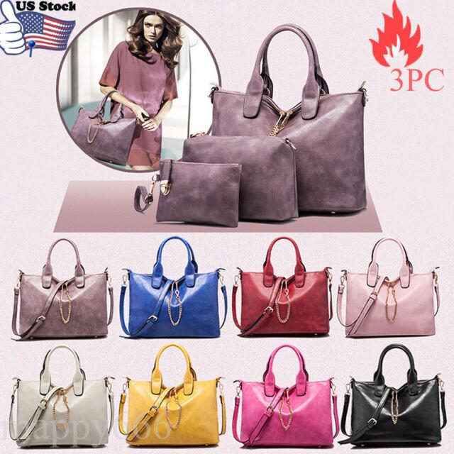 3PCS Women Handbag Shoulder Bag Leather Messenger Satchel Purse Tote Bags USPS