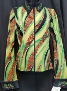 LIME-GREEN-MULTI-Gold-Metallic-Color-Rail-Shirt-Ladies-size-SMALL-by-1849-NWT