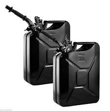 Lot 2 Black 5 Gallon Jerry Can Gas Fuel Steel Tank Military Style Storage Can