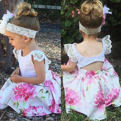 New Toddler Kids Baby Girl Lace Floral Party Princess Dress Sundress+Headband KW