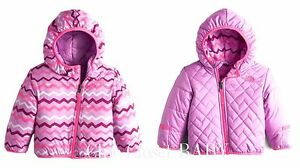 287d978cd Little Girls Infant Baby Purple Pink Reversible Winter North Face Puffer ...