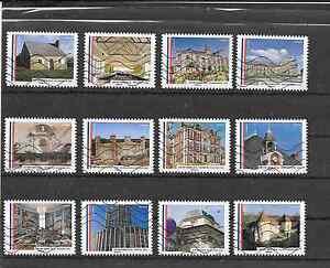 FRANCE-2015-034-MAIRIES-DE-FRANCE-034-SERIE-COMPLETE-DE-12-TIMBRES-AA-OBLITERES