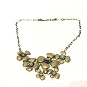 LIA-SOPHIA-Gold-Tone-Aged-Bronze-Chain-Floral-Fashion-Statement-Necklace-18-034
