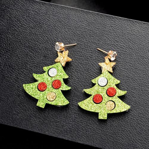 Women Christmas Hook Earrings Pierced Santa Elk Stud Ear Xmas Part Jewelry Z