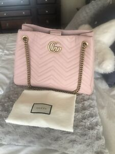 63cc0e99f34b NWOT Gucci GG Marmont Medium Matelasse Shoulder Bag Pink Authentic ...