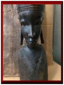 Ancient statue,Vintage black statue,Ebony sculpture,Art sculpture,Beautiful black lady statue,Collectible sculpture,Antique black statue