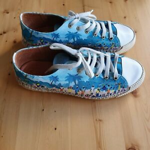 Top-End-Blue-Village-Tribe-Print-Espadrille-Flats-Sneakers-39-Colourful-amp-Comfy