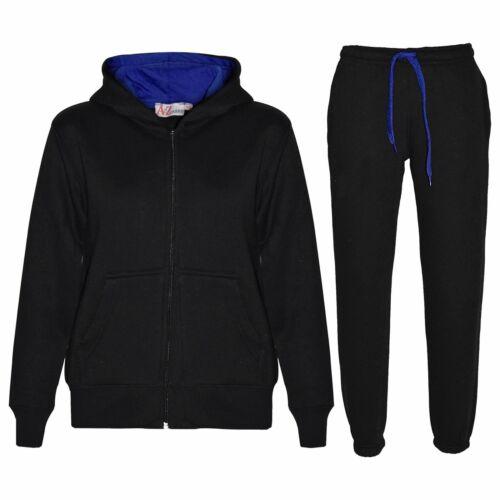 Enfants Garçons Filles Survêtement Polaire Noir /& Royal à Capuche Sweat à Capuche Bas De Jogging Costume