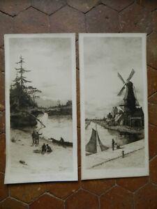 Grabado Otto Dinger Bistre, Morning IN Holanda; Noche The Fox River 1888