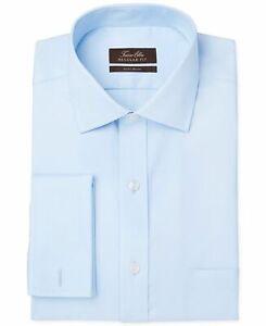 97-Tasso-Elba-15-34-35-Men-Regular-Fit-Blue-French-Cuff-Long-Sleeve-Dress-Shirt