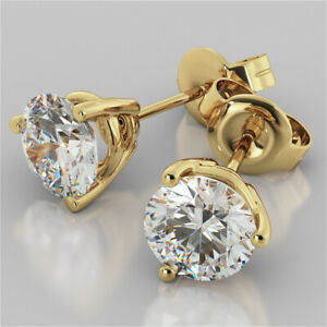 2-00-Ct-Round-Cut-Diamond-Earring-Stud-14K-Solid-Yellow-Gold-Earrings-A