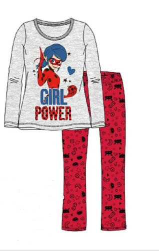 MIRACULOUS Lady Bug Pyjama Schlafanzug Mädchen Hellgrau melange Größe 110-140