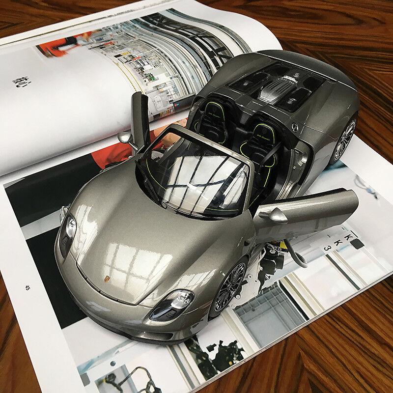 New 1/18 Welly FX Porsche 918 Spyder E hybrid open close car model Met. Grey