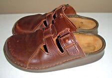 Footprints By Birkenstock Brown Leather Slide Mule Clog Shoes Women's Size: 38