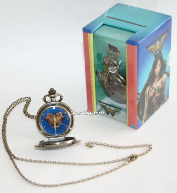 DC Comics Wonder Woman Movie Logo Bronze Tone Pocket Watch Necklace Licensed NEW