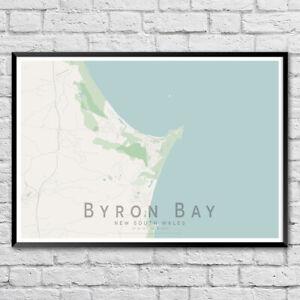 Australia Map Byron Bay.Byron Bay Map Print Australia Wall Art Poster City Map Wall Decor