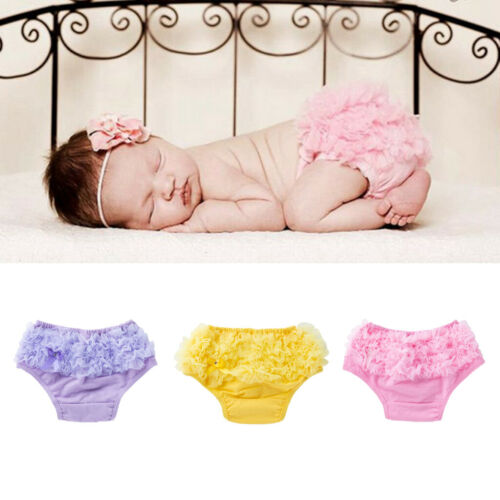 Baby Ruffle Pants Bloomers Pettiskirt Diaper Covers Tutu Solid Color Print 0-24M