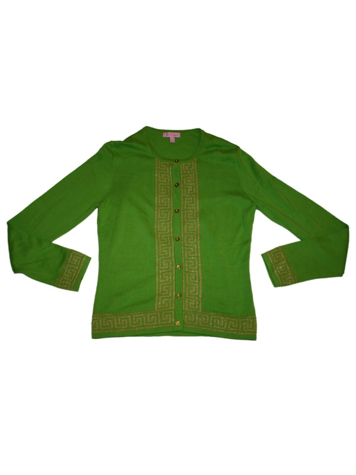 Women Lilly Pulitzer Lime Green gold gold gold Cotton Cardigan Sweater Fall Winter Size S 1172ae