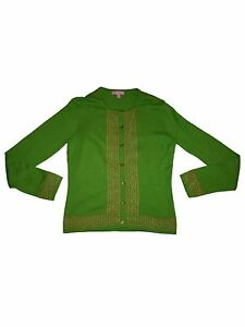 Women-Lilly-Pulitzer-Lime-Green-Gold-Cotton-Cardigan-Sweater-Fall-Winter-Size-S