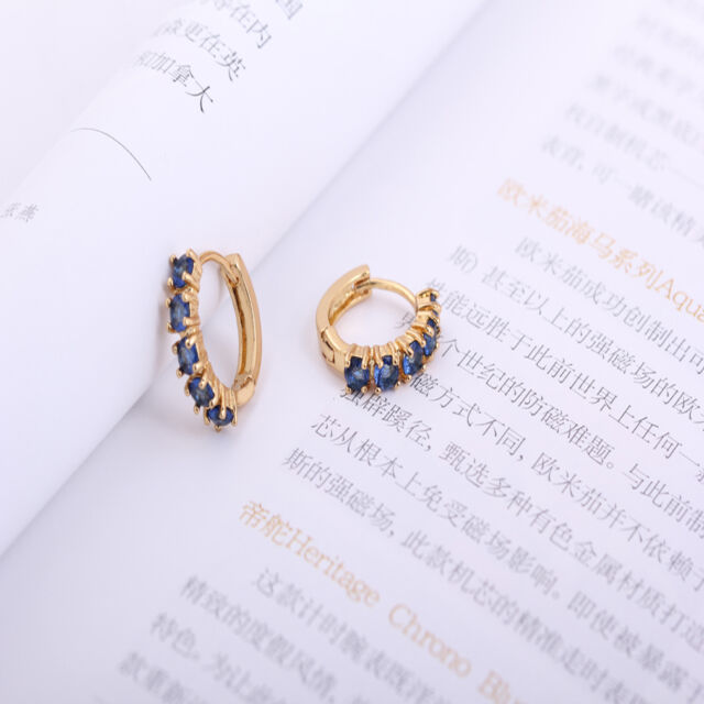 Gold Plated Simple Style Inlay Round Dark Green Crystal Small Hoop Lady Earrings