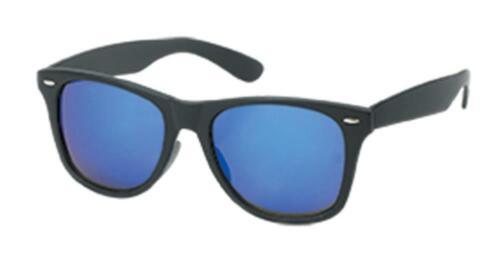 Sonnenbrille schwarz Wayfarer Nerd 400 UV verspiegelt pink gelb blau grün
