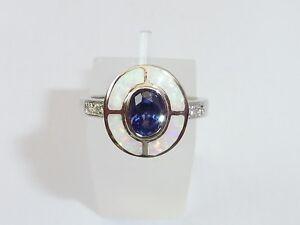 Damen-Art-Deco-Sterling-925er-Fein-Silber-Opal-Sapphire-amp-Tanzanite-Target-Ring