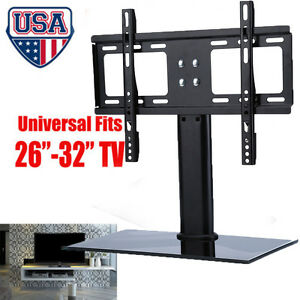 universal fit tv stand base wall mount for 26 30 32 flat screen monitor tvs. Black Bedroom Furniture Sets. Home Design Ideas