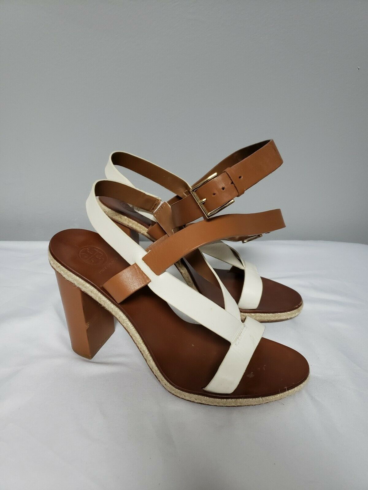 Tory Burch Wouomo Leather Straps Sandals Ivory Dimensione 9.5 Block Stacked Heel
