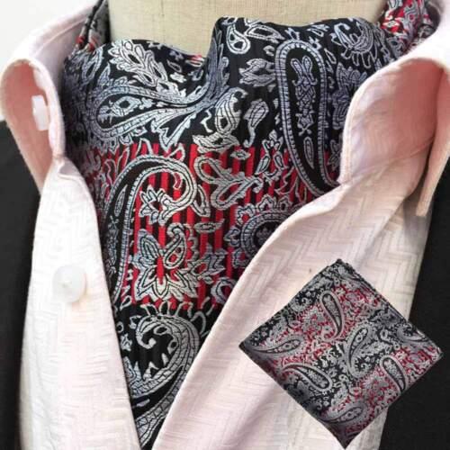 Men/'s Paisley Floral Ascot Cravat Necktie Hanky Pocket Square Matching Set