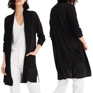 J-Crew-Women-039-s-Linen-Open-Front-Cardigan-Long-Sleeve-Sweater-Top-Black-XL