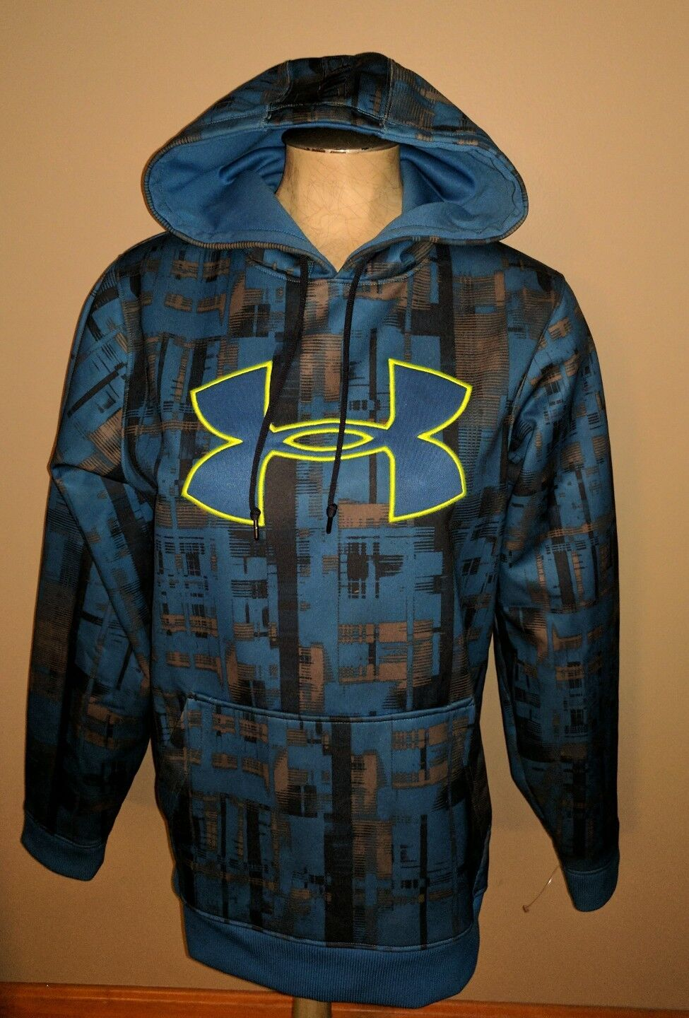 UNDER ARMOUR  Herren HOODIE SM S Blau GEOMETRIC DESIGN NEON WORN ONCE