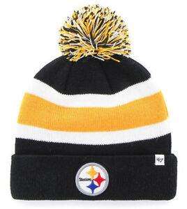 PITTSBURGH-STEELERS-NFL-BREAKAWAY-WINTER-039-47-KNIT-3-TONE-POM-BEANIE-CAP-HAT-NWT