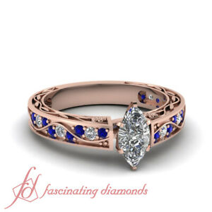 Details About 1 15 Carat Marquise Diamond And Sapphire Old Fashioned Bridal Rings In Rose Gold