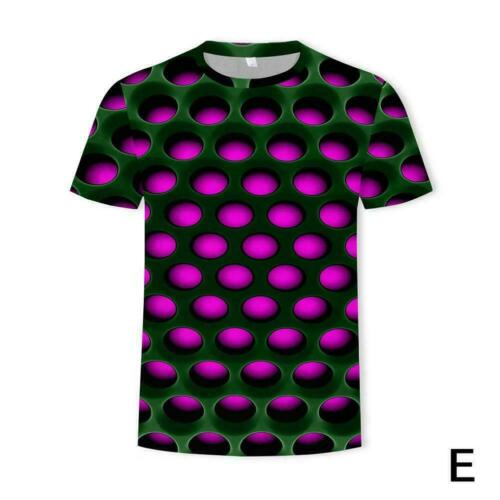 Mens 3D Geometric Print T-Shirt Casual Short Sleeve Crew Neck Casual Tee Tops