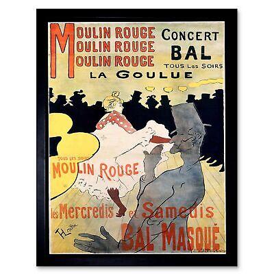 Ad Vintage Lautrec Moulin Rouge La Goulue Mask Ball 12X16 Inch Framed Art Print