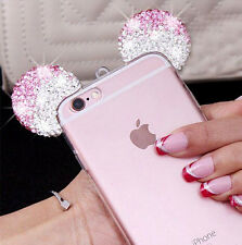 for iPhone SE / 5S - Pink Diamond Rhinestone Minnie Mouse Ears Rubber Gummy Case
