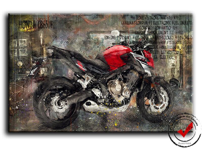 HONDA CB650F Bild Bilder Leinwand Garage Cafe Motorrad Wandbild Poster Bike Deko