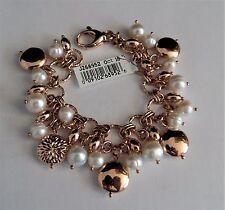"Honora Cultured Pearl Bronze Charm Bracelet ""ROSE""  AVERAGE  7-1/4"" NWT"