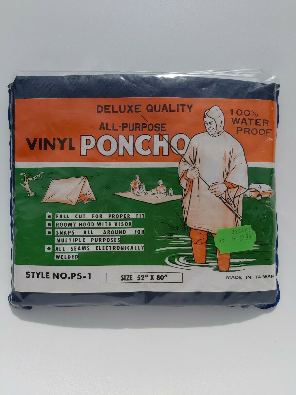 Deluxe Quality All-Purpose Vinyl Poncho - Blue - Unused in Original Packaging