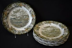 Ridgway-England-Heritage-Green-Multicolor-Set-of-8-Dinner-Plates-Faults