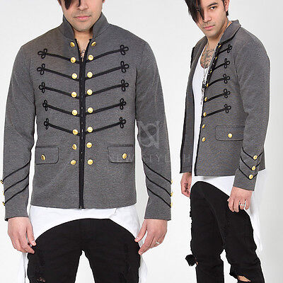 New Mens Fashion Outwear Gray Runway Lux Black Embroidery Napoleon Gray Jacket