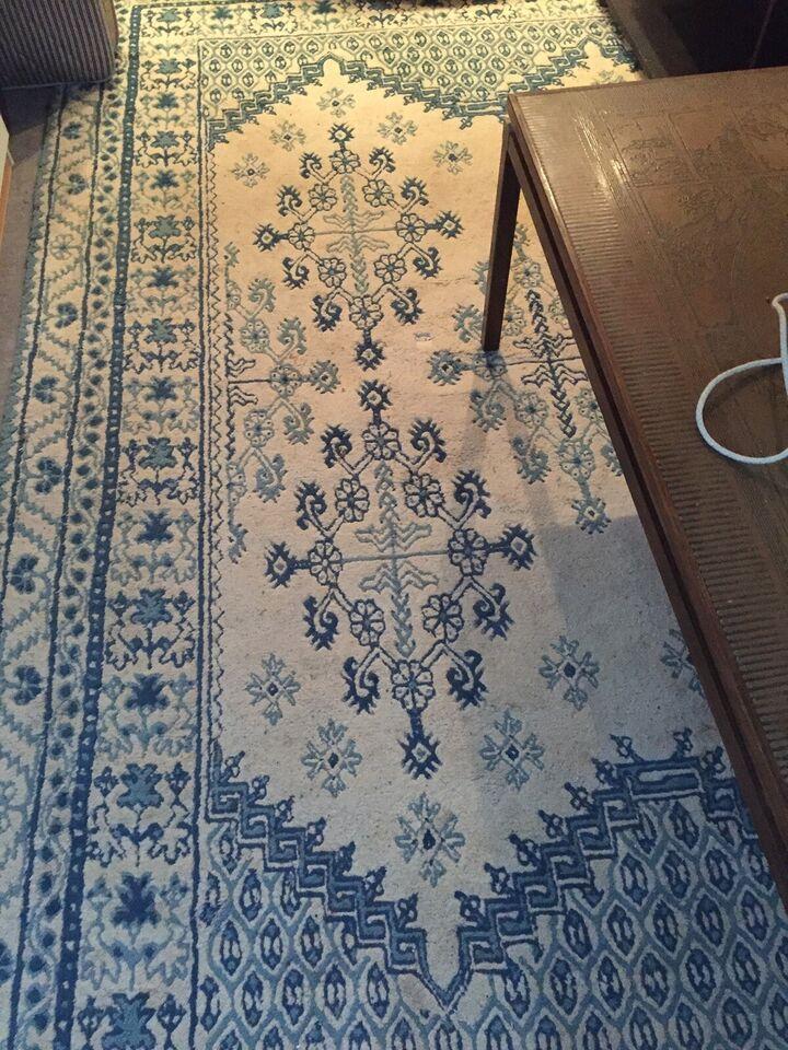 Gulvtæppe, ægte tæppe, bomuld og uld