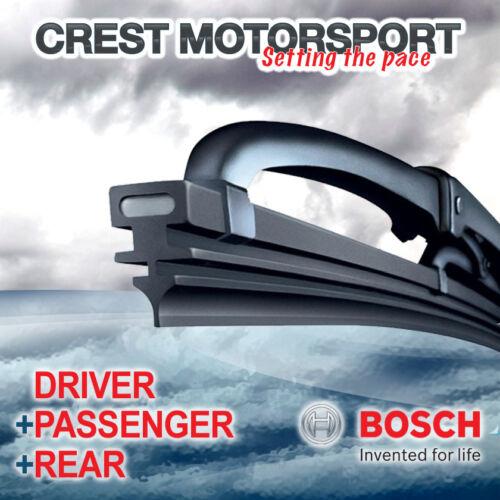 "BOSCH Super Plus Front Driver//Passenger /& Rear Windscreen Wiper Blades 22//22//15/"""