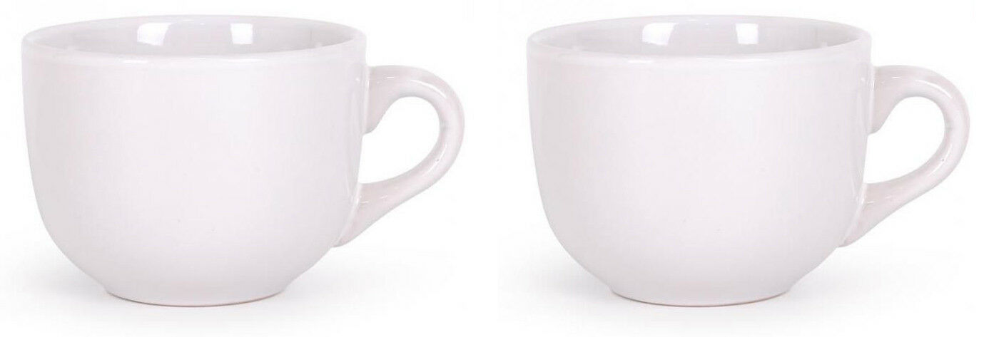 2X JUMBO LARGE Cappuccino coffee latte mugs HORECA white porcelain cups 400ML