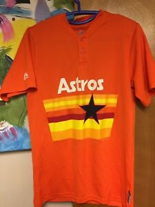 new product a55c0 f90f5 Details about Majestic Houston Astros Retro Throwback Orange Rainbow  Pullover Jersey Small #4